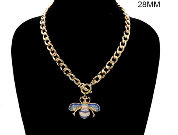 GOLD WHITE ENAMEL BLUE RHINESTONE BEE TOGGLE NECKLACE ( 3437 )