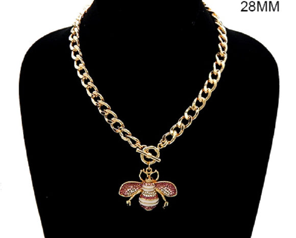GOLD WHITE ENAMEL PINK RHINESTONE BEE TOGGLE NECKLACE ( 3437 )