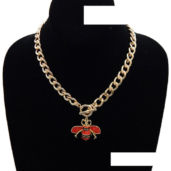 GOLD BLACK ENAMEL AND RED RHINESTONE BEE TOGGLE NECKLACE ( 3437 )