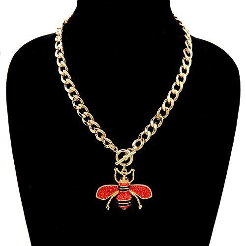 GOLD RED RHINESTONE BEE TOGGLE NECKLACE ( 3438 ) - Ohmyjewelry.com