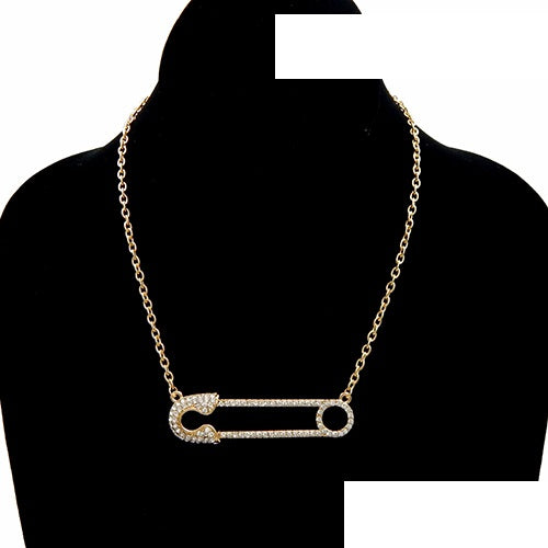 Gold Safety PIN Necklace with Clear Rhinestones ( 3464 )