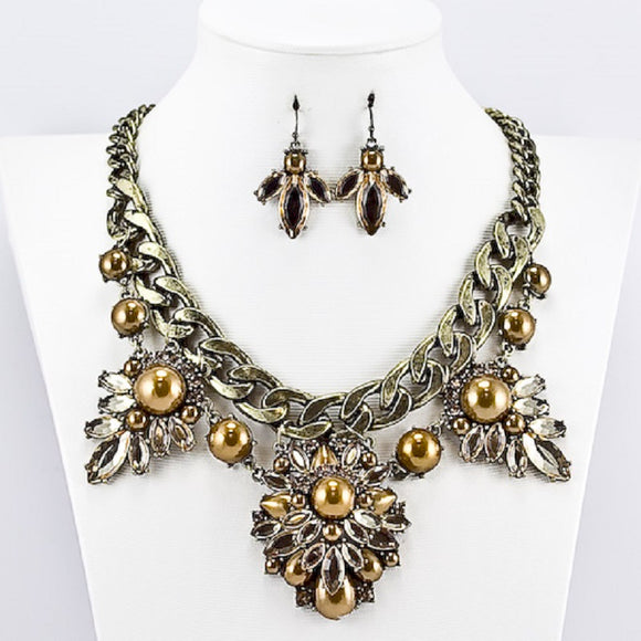 ANTIQUE GOLD NECKLACE SET BROWN PEARLS STONES ( 3278 )