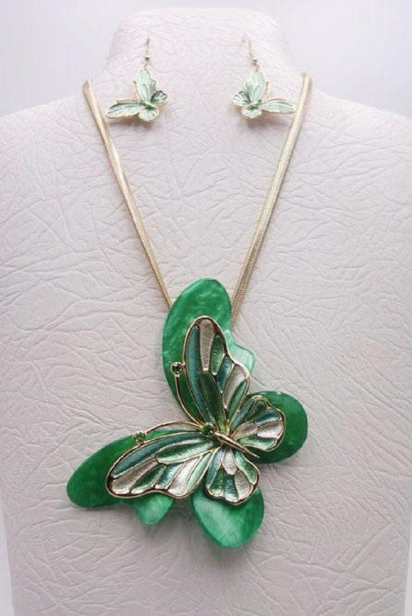 GOLD GREEN BUTTERFLY NECKLACE SET ( 3680 GGN ) - Ohmyjewelry.com
