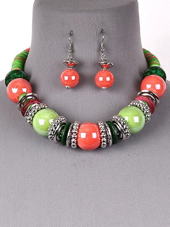 Pink and Green Wood Beaded Fashion Necklace Set ( 2540 PKGN )