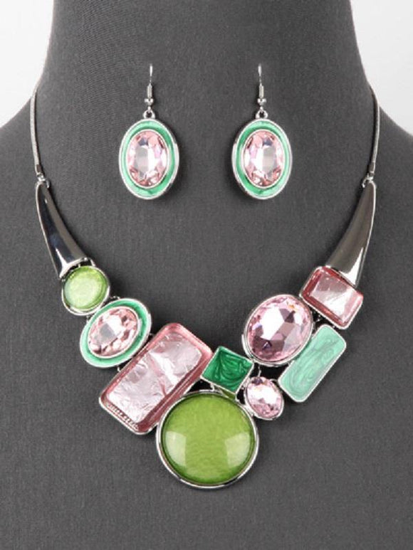Pink and Green Abstract Fashion Necklace Set with Silver Hardware ( 3321 PKGR )