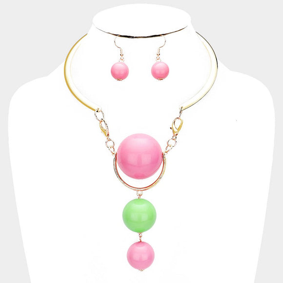 Gold Necklace with 3 Drop Large Pink and Green Beaded Fashion Necklace and Earrings ( 3342 )