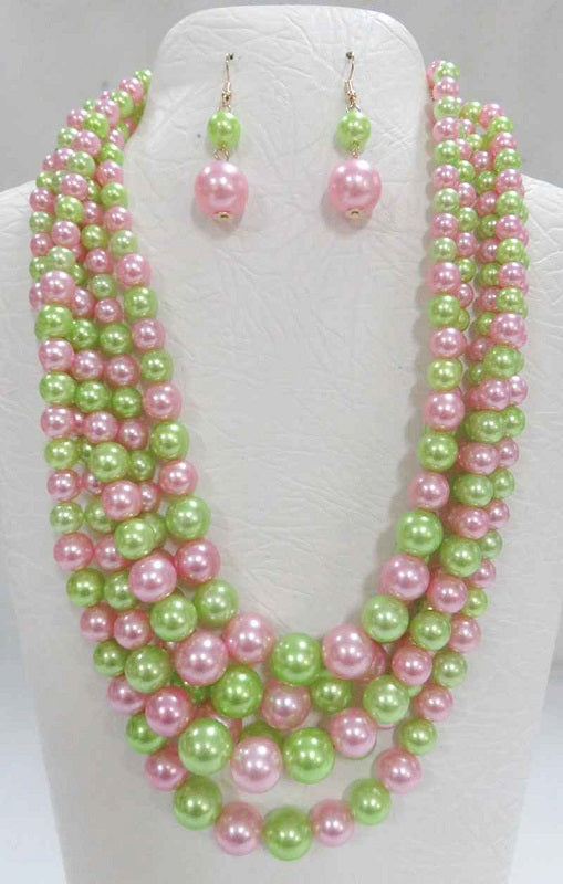 5 STRAND PINK & GREEN PEARL NECKLACE WITH MATCHING EARRINGS ( 3869 )