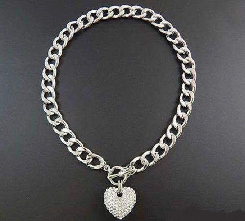 SILVER RHINESTONE HEART CHARM TOGGLE NECKLACE ( 1442 SCL )