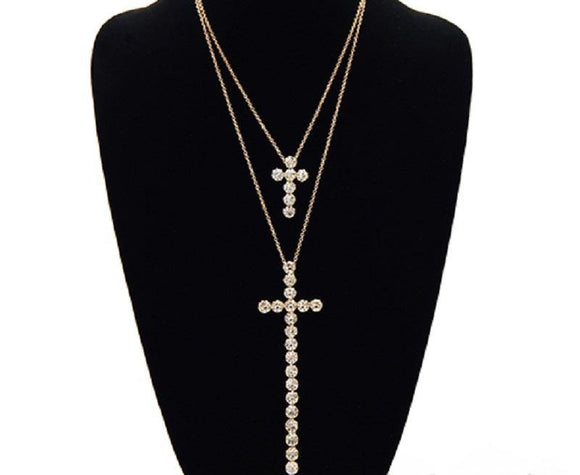 2 Layer Gold Rhinestone Cross on Gold Chain ( 3441 GDCLR )