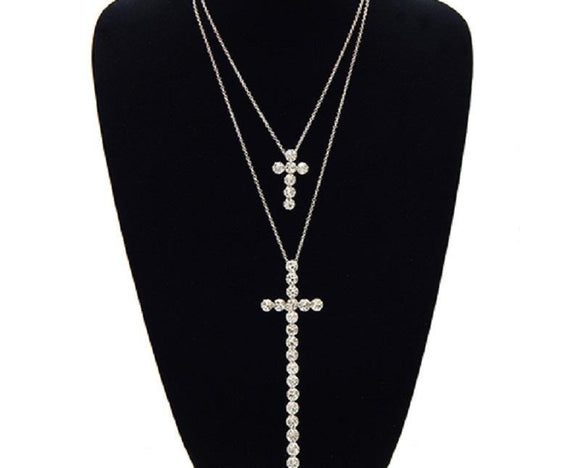 2 Layer Silver Rhinestone Cross on Silver Chain ( 3441 RDCLR )