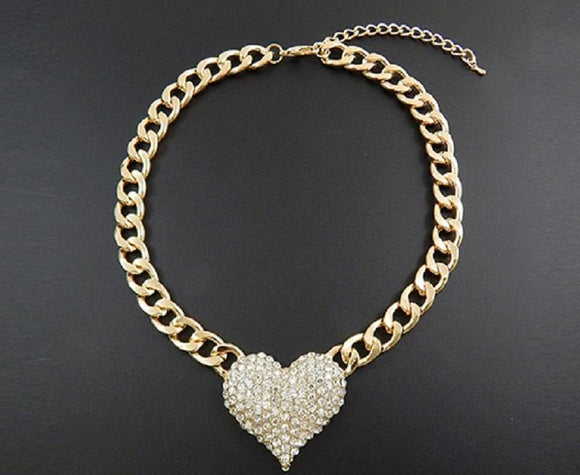 Gold Chain with Clear Rhinestone Heart ( 9091 GCL )