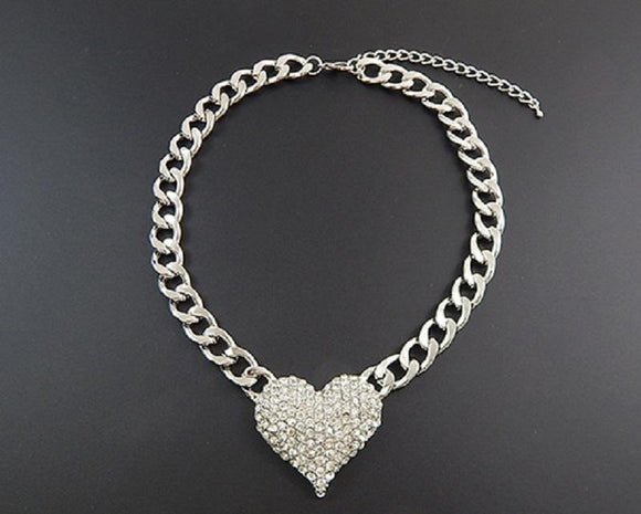 Silver Chain with Clear Rhinestone Heart ( 9091 SCL )