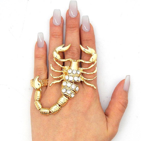 Large Gold Clear Rhinestone Scorpion 2 Finger Stretch Ring ( 1137 )