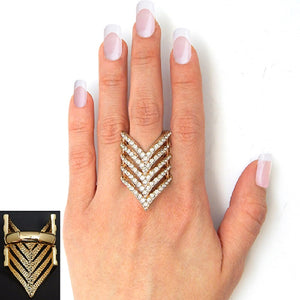 Gold Clear Rhinestone Stretch Ring ( 2155 )