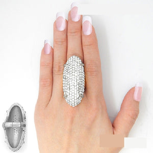"2"" Long Clear Rhinestone Elongated Stretch Ring in Silver Setting ( 2190 )"