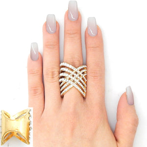 Pave Zig Zag Ring in Gold Setting ( 2235 )