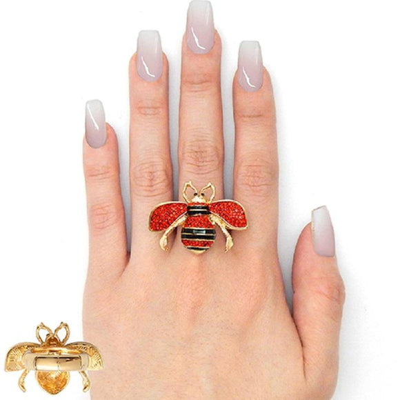 Gold Black Enamel and Red Rhinestone Bee Stretch Ring ( 2238 ) - Ohmyjewelry.com