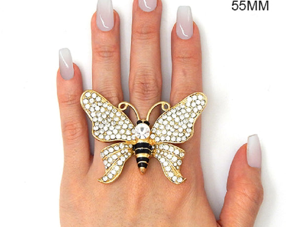 Oversize Gold with Clear Rhinestone Butterfly Stretch Ring ( 2248 )