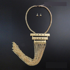 VENI VIDI VICI Hip Hop Gold Fringe Necklace
