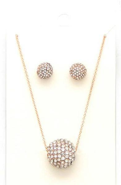 Clear Color Pave Ball and Earrings Necklace Set with Gold Accents ( 2554 )