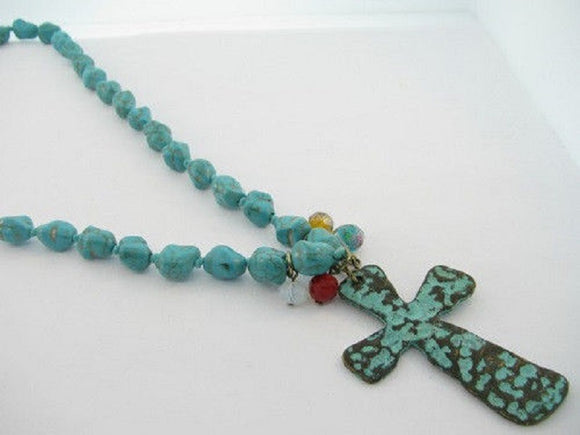 Turquoise Stone Beaded Necklace with Patina Metal Cross Pendant ( 36005 )