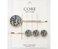 GOLD HAIR PIN SET SNAKE SKIN PRINT ( 2041 )