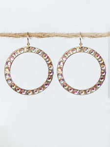 "1.25"" Burnish Gold Dangle Open Cut Round Earrings with AB Stones ( 2163 )"