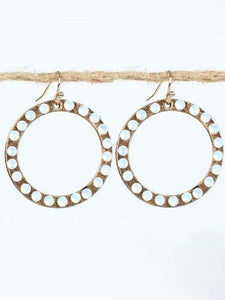 "1.25"" Burnish Gold Dangle Open Cut Round Earrings with Opal Stones ( 2163 )"