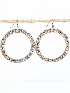 "1.25"" Burnish Gold Dangle Open Cut Round Earrings with Clear Stones ( 2163 )"