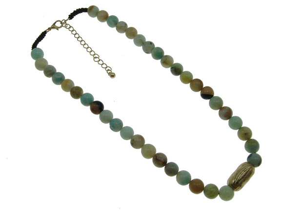 10mm Multi Color Genuine Stone Beaded Necklace with Gold Feather Charm ( 1688 )