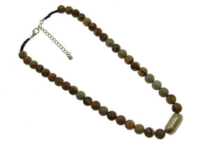"10mm Mix Reddish and Brown Genuine Stone Beaded Necklace with Gold ""Blessed"" Charm ( 1691 )"