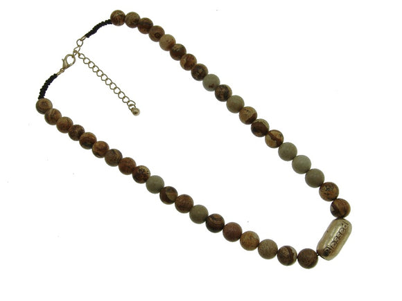 10mm Mix Reddish and Brown Genuine Stone Beaded Necklace with Gold