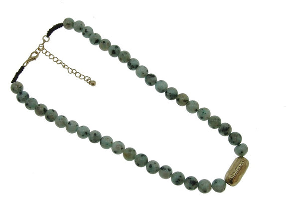 10mm Dalmatian Genuine Stone Beaded Necklace with Gold