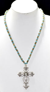 "32"" Turquoise and Antique Silver Beaded Necklace with Large Rhinestone Cross Pendant ( 1950 )"