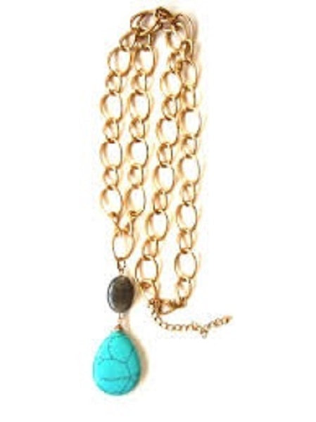 Gold Link Necklace with Turquoise Teardrop and Gray Oval Semi Precious Stone