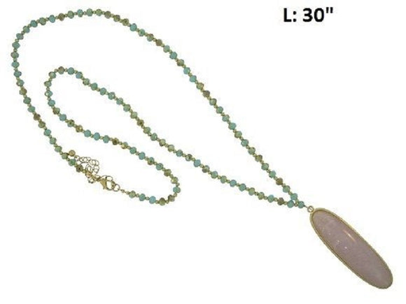 Long Turquoise Crystal Beaded Necklace with Pink Oval Stone Pendant ( 336 )