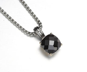 Black Cushion Cut Four Prong Pendant Rhodium Plated Necklace ( 668 )