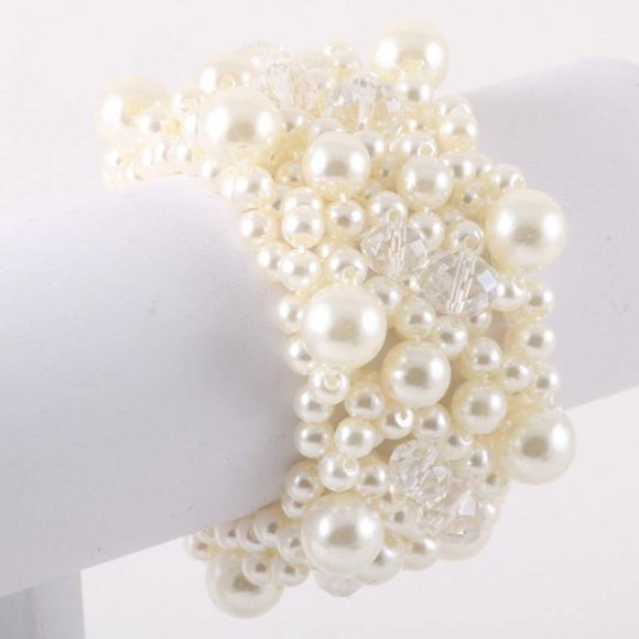 CREAM PEARL STRETCH BRACELET ( 9489 CR )