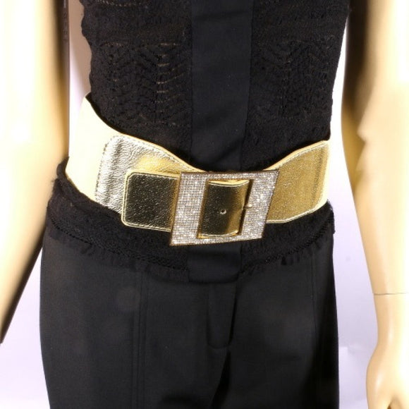 GOLD LEATHERETTE STRETCH BELT CLEAR STONES BUCKLE ( 8020 )