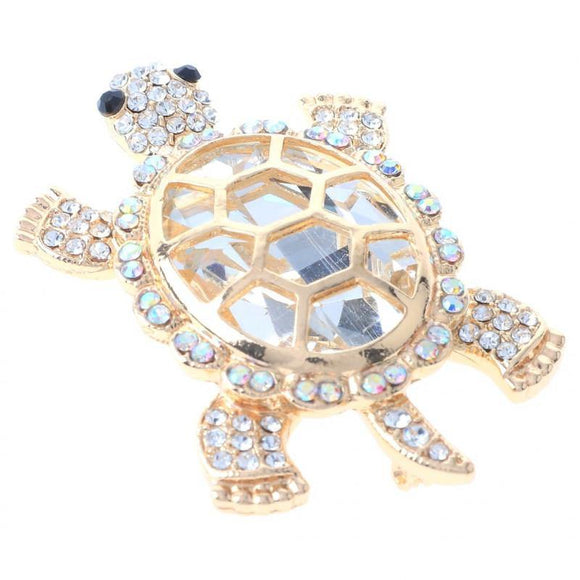 GOLD CLEAR AB STONES TURTLE BROOCH ( 1186 GAB )