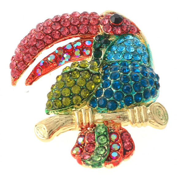 TOUCAN BIRD BROOCH PINK MULTI COLOR STONES ( 1340 PKMT )
