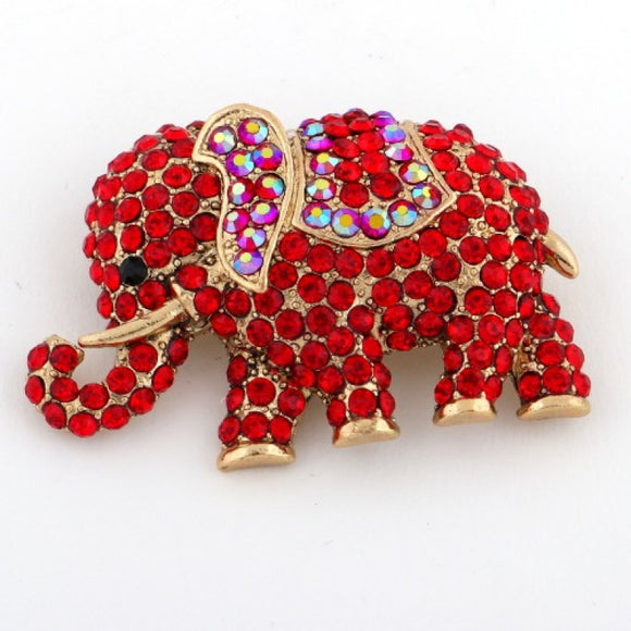 GOLD ELEPHANT BROOCH WITH RED STONES ( 1237 )