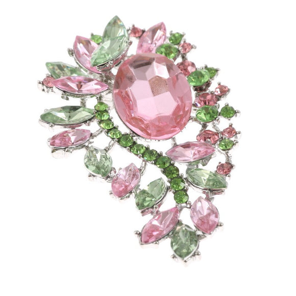 SILVER BROOCH WITH PINK AND GREEN STONES ( 0694 )