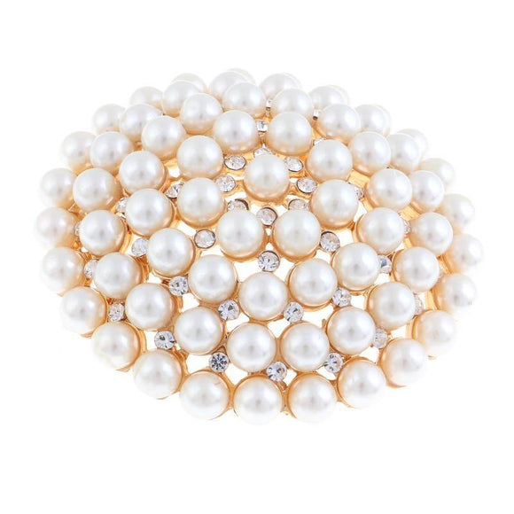 GOLD BROOCH WITH CLEAR RHINESTONES AND CREAM PEARLS ( 06691 )