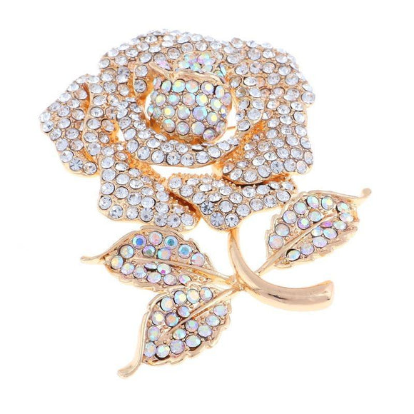 GOLD ROSE BROOCH AB CLEAR RHINESTONES ( 1349 GAB )