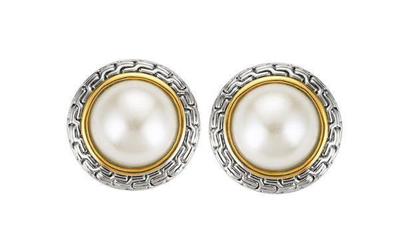 SILVER GOLD EARRINGS PEARL CLIP ON ( 121 )