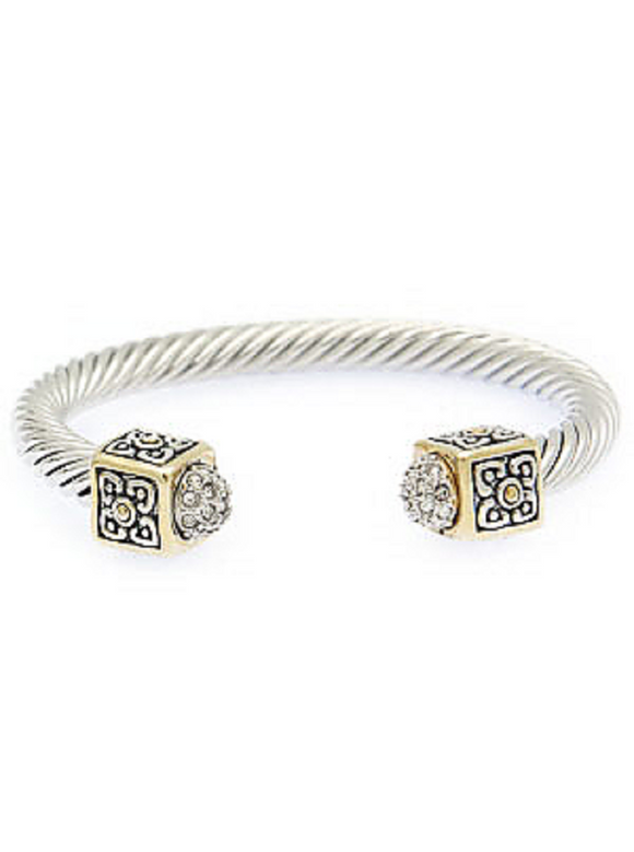TWO TONED CABLE CUFF BRACELET CLEAR STONES ( 041 )
