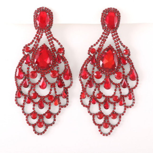LARGE HEMATITE EARRINGS RED STONES ( 35190 )