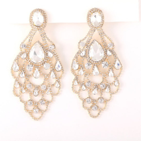 LARGE GOLD EARRINGS CLEAR STONES ( 35190 )