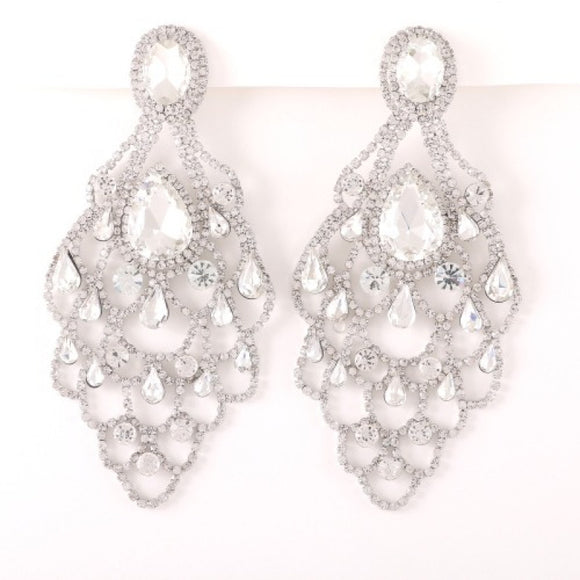 LARGE SILVER EARRINGS CLEAR STONES ( 35190 )